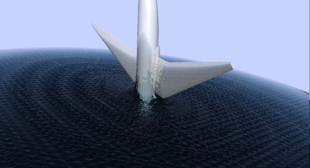 Un avion tombe dans l'eau (image d'illustration)