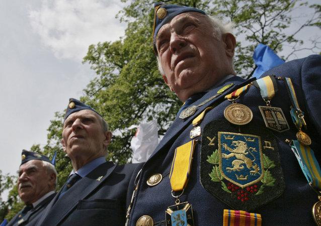 Les anciens combattants de l'organisation ultranationaliste ukrainienne UNA-UNSO