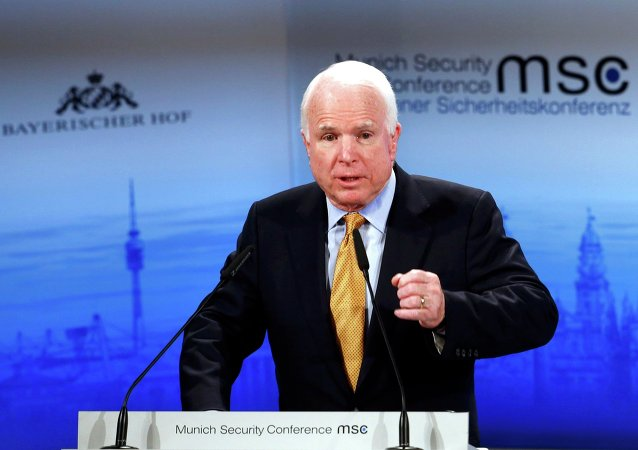The chair of the Senate Armed Services Committee Senator John McCain addresses during the 51st Munich Security Conference at the 'Bayerischer Hof' hotel in Munich February 8, 2015