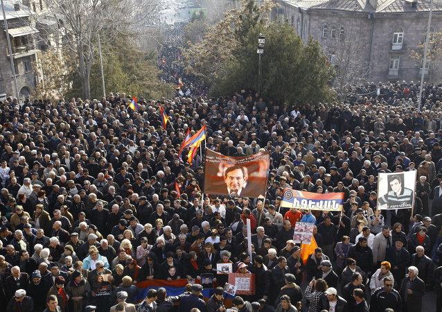 Une manifestation à Erevan