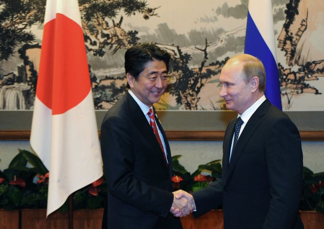 Vladimir Poutine et Shinzo Abe. Archive photo