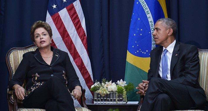 La présidente brésilienne Dilma Rousseff et le président américain Barack Obama, avril 2015