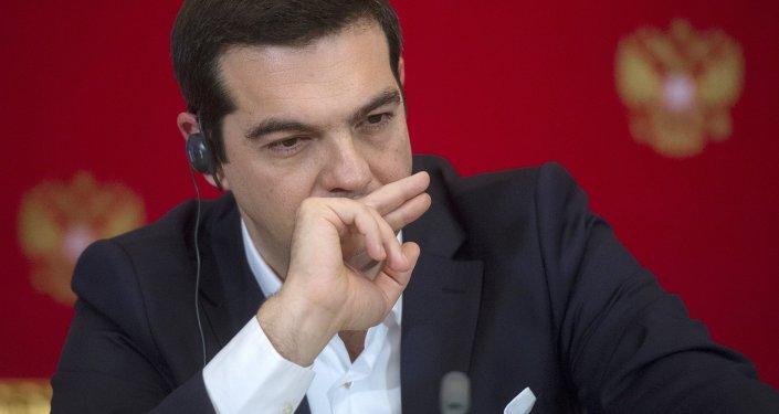 Le premier ministre grec Alexis Tsipras lors d'une conférence de presse à Moscou, avril 2015