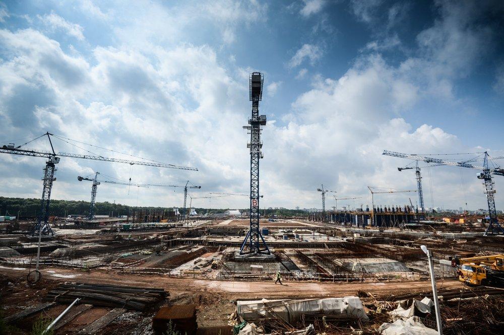 Construction du stade Cosmos Arena à Samara