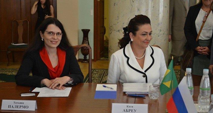Katia Abreu, ministre brésilienne de l'Agriculture, lors de sa visite à Moscou, 2015