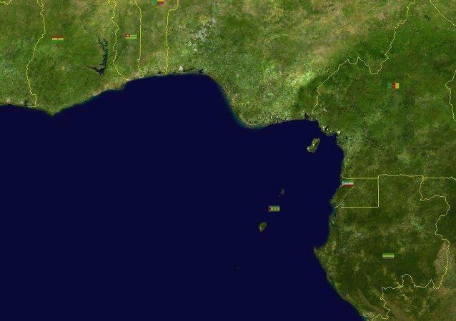 Photographie par satellite du golfe intérieur de Guinée