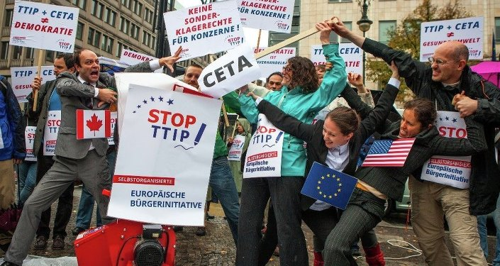 demonstration contre le TTIP