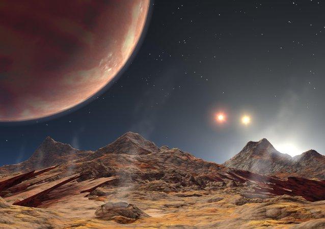 Vue d'artiste des trois étoiles de l'exoplanète HD 188753 Ab (l'une des étoiles étant couchée)
