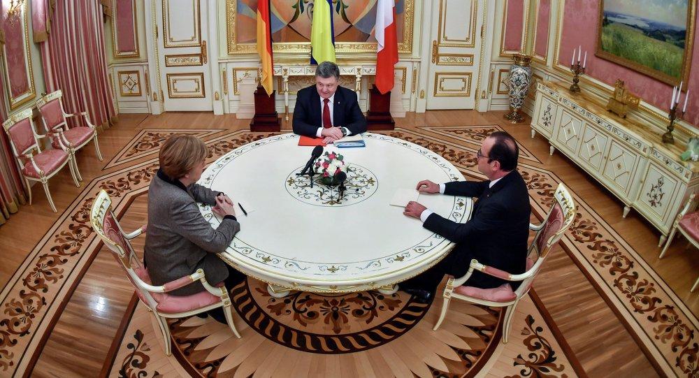 Angela Merkel, Piotr Porochenko et François Hollande (archive photo)