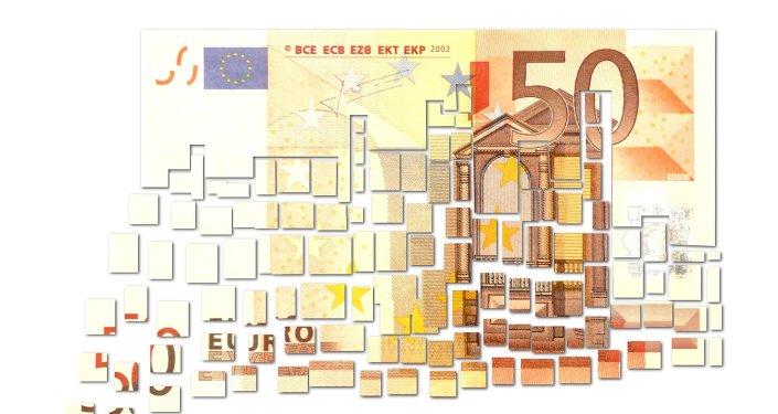 L'euro (€), la monnaie de l'union économique formée au sein de l'Union européenne