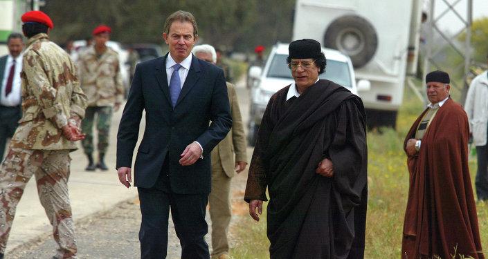 Tony Blair et Mouammar Kadhafi