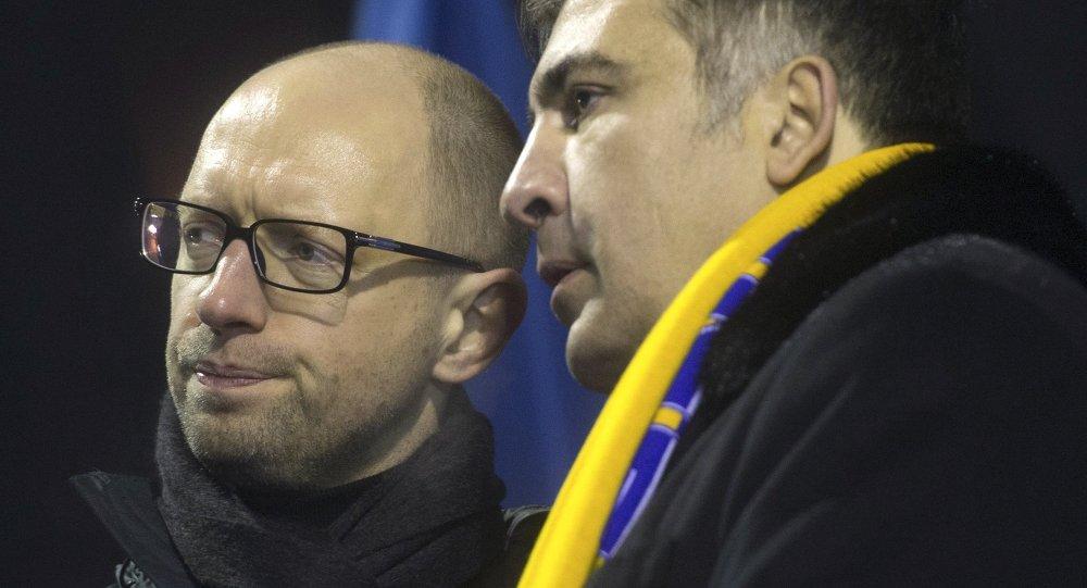 Arseni Iatseniouk et Mikhaïl Saakachvili