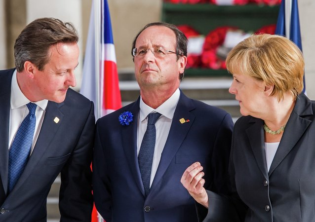 David Cameron, Francois Hollande et Angela Merkel