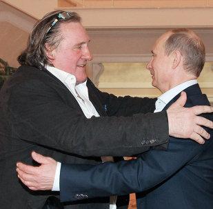 Встреча президента РФ В.Путина с Жераром Депардье в Сочи