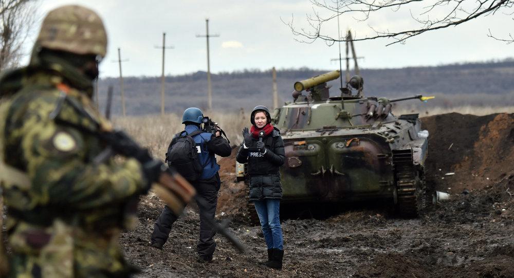 Journalistes dans le Donbass. Image d'illustration