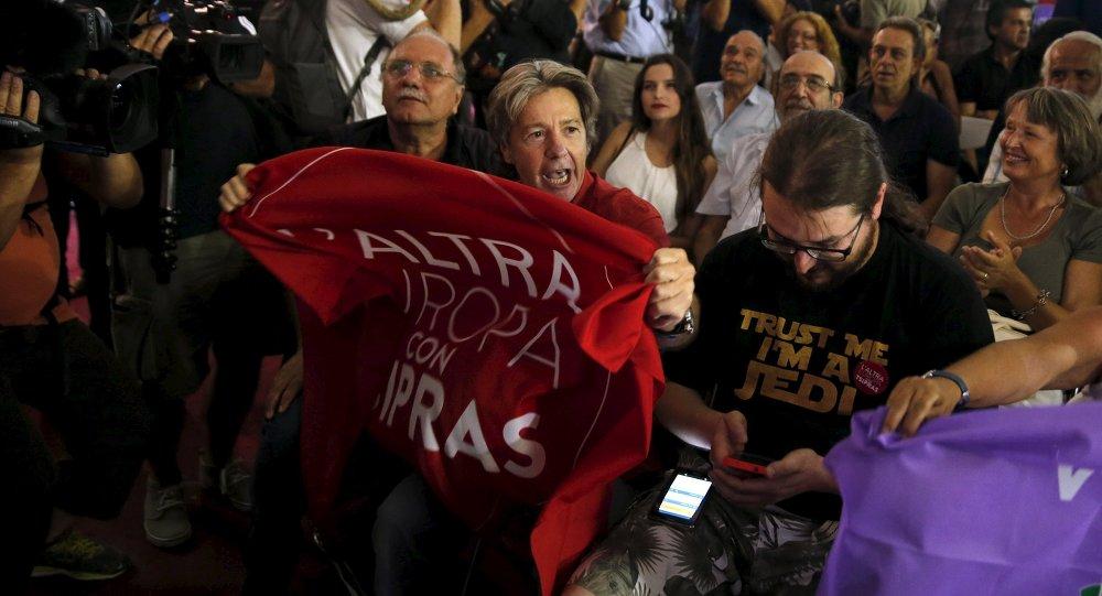 Les partisans du parti grec Syriza