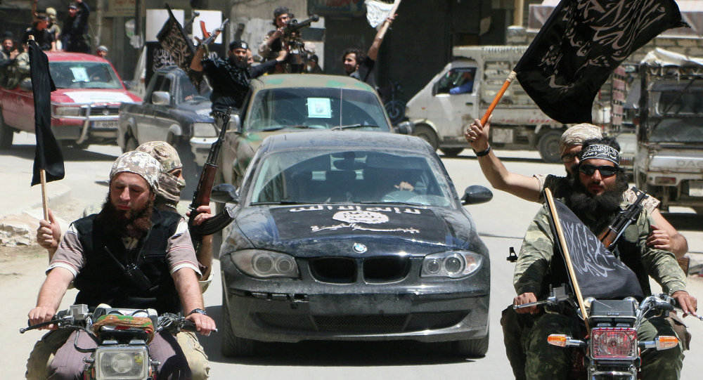 Fighters from Al-Qaeda's Syrian affiliate Al-Nusra Front drive in the northern Syrian city of Aleppo. (File)