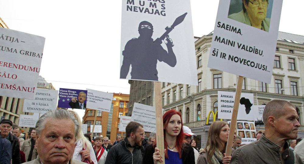 Marche de protestation à Riga