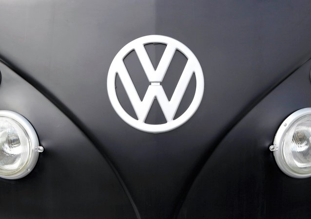 The Volkswagen logo is seen on a Kombi minibus during a Kombi fan club meeting in Sao Bernardo do Campo, Brazil