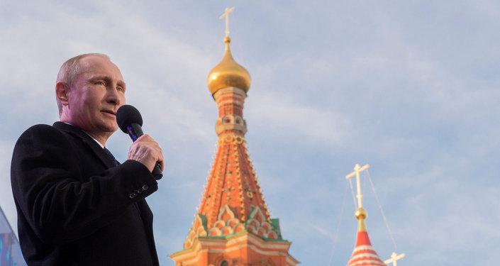 Президент России В.Путин посетил праздничный митинг-концерт Мы вместе!