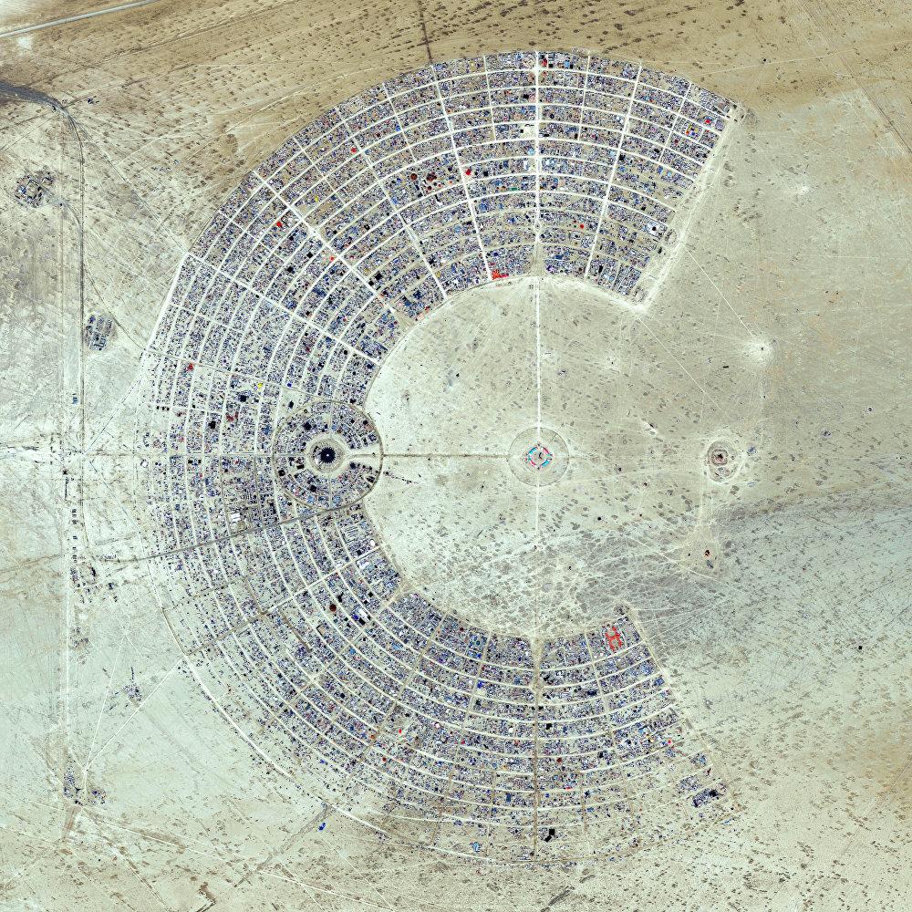 Le territoire du festival Burning Man dans l'Etat du Nevada, les Etats-Unis