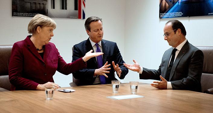 Angela Merkel, David Cameron et François Hollande