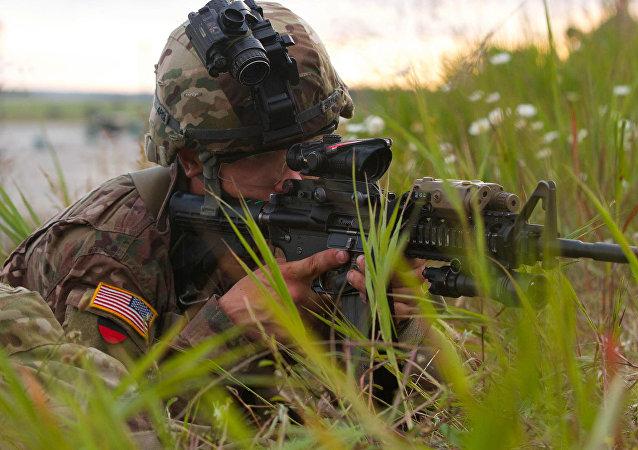 Soldats américains sur les manœuvres en Lettonie