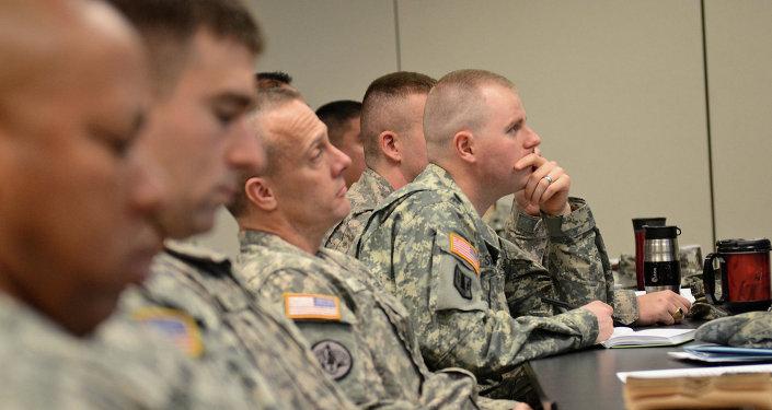 Officiers militaires américains. Image d'illustration