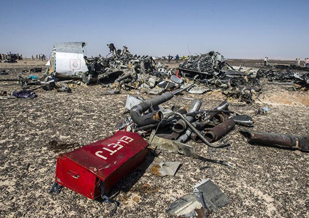 Les débris de l'avion Airbus A-321 qui s'est écrasé en Egypte le 31 octobre 2015