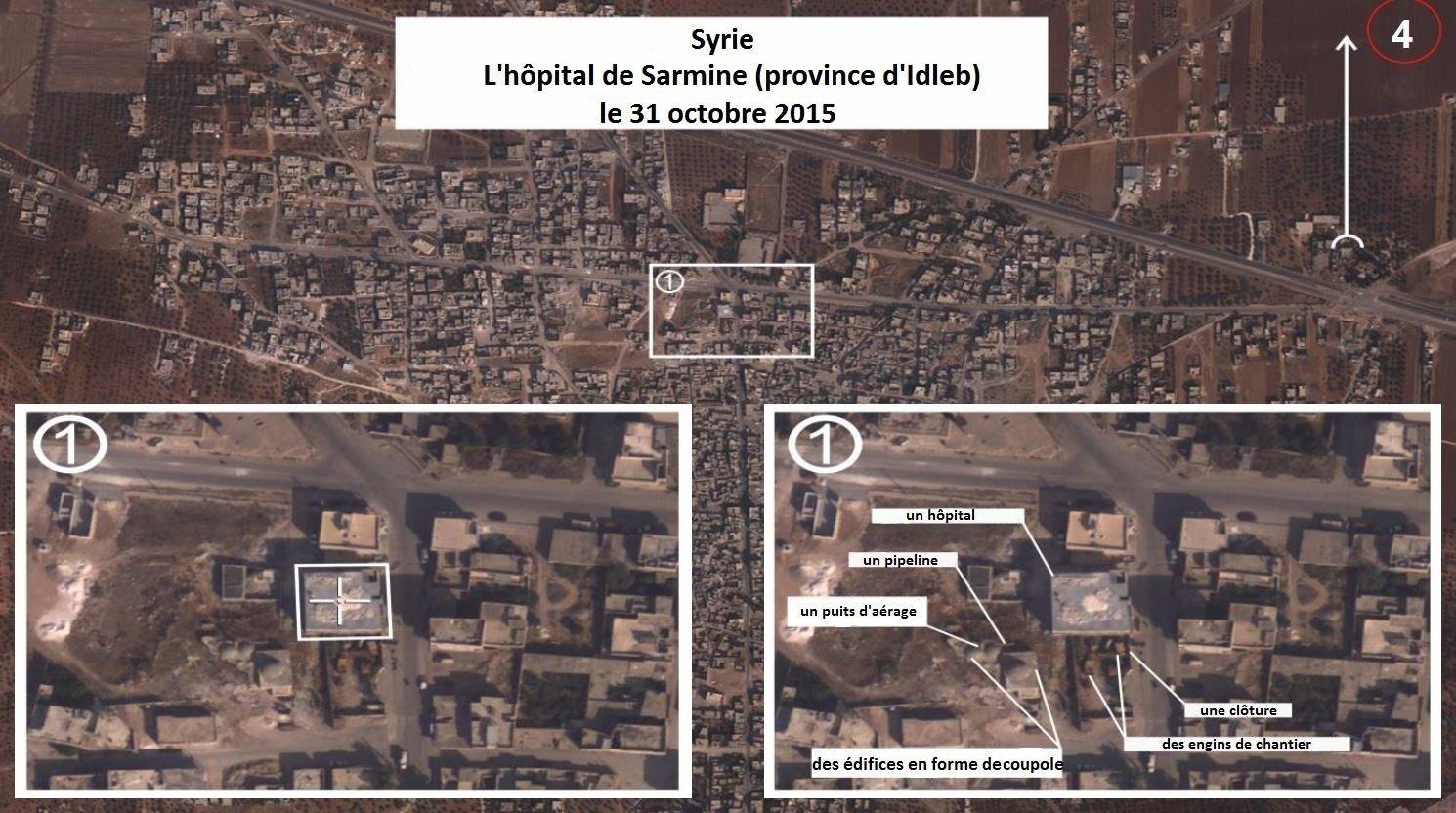 Photos aériennes prises par des pilotes russes à Sarmine le 31 octobre 2015