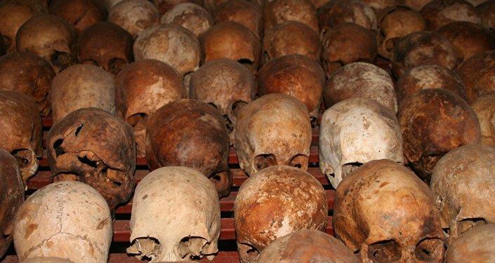 Les crânes des victimes du génocide