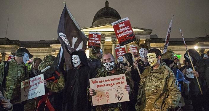 une manifestation Anonymous à Londres