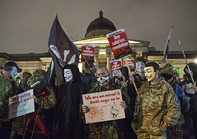 une manifestation Anonymous à Londres