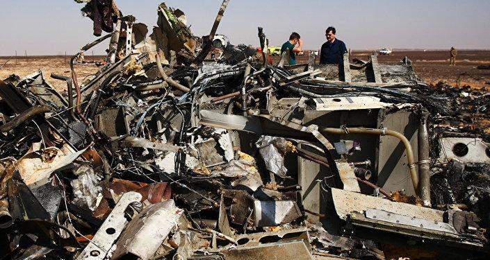 des débris de l`avion A321, Egypte, Novembre 1, 2015