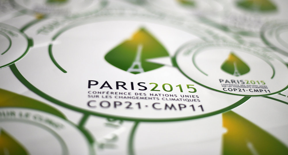 autocollants de la COP21, Paris, devant la Conférence sur les changements climatiques 2015