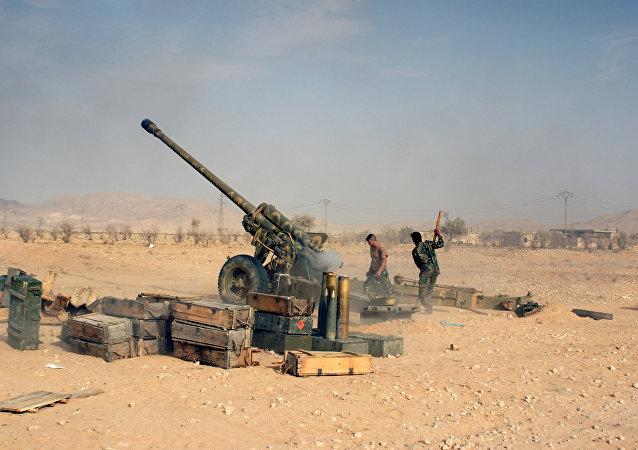 Militaires syriens dans la zone de Palmyre