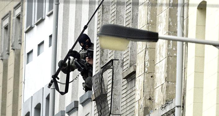 Les forces spéciales belges en intervention à Molenbeek. Le 16 novembre 2015