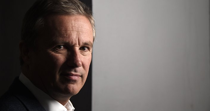 Nicolas Dupont-Aignan, President of Debout la France (DLF) party and candidate for the regionales election in Ile de France, poses in Paris on October 19, 2015.