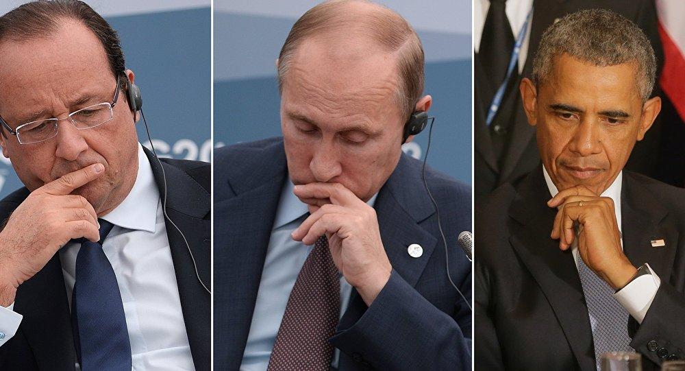 François Hollande, Vladimir Poutine et Barack Obama