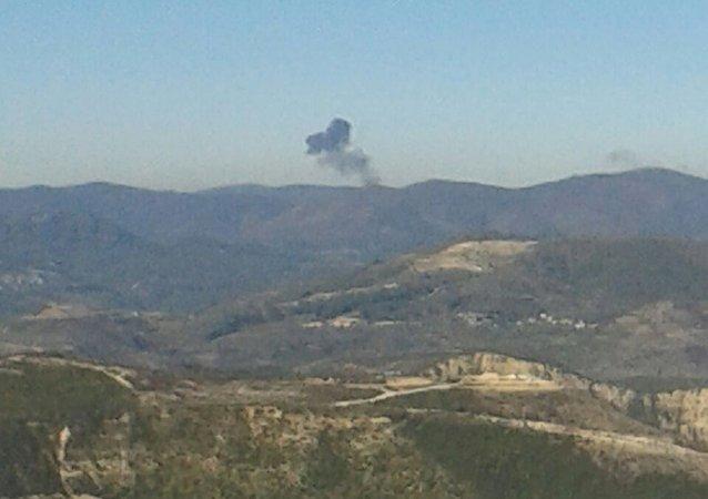 Le lieu du crash du bombardier russe Su-24 abattu par la Turquie
