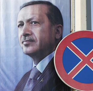 Un poster avec une image du président de la Turquie Recep Tayyip Erdogan