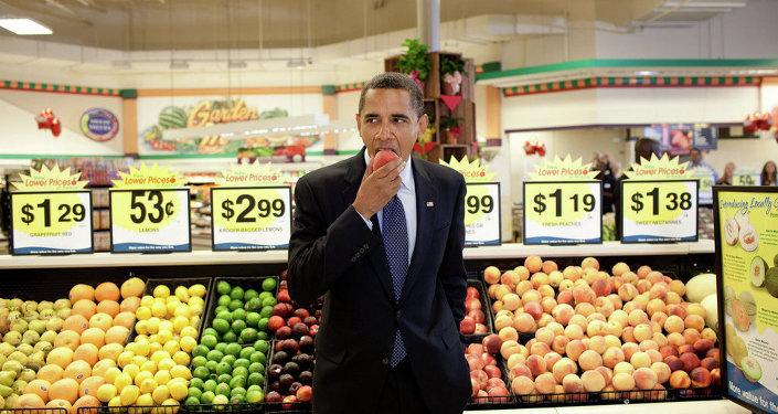 Barack Obama et des pêches