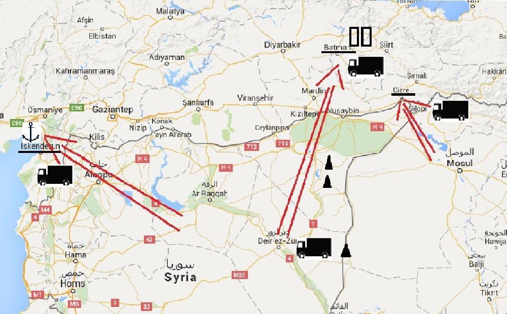 Trois itinéraires de livraison du pétrole de Daech