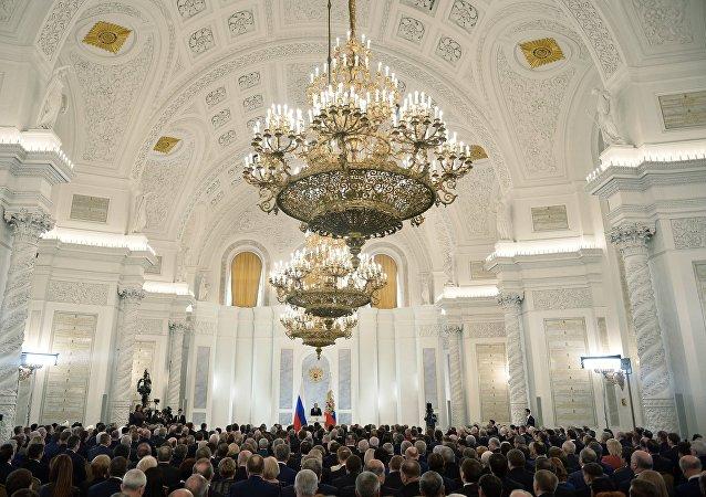 le président russe Vladimir Poutine devant l'Assemblée fédérale du pays