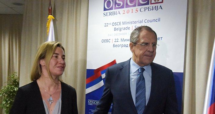 Federica Mogherini et Sergueï Lavrov