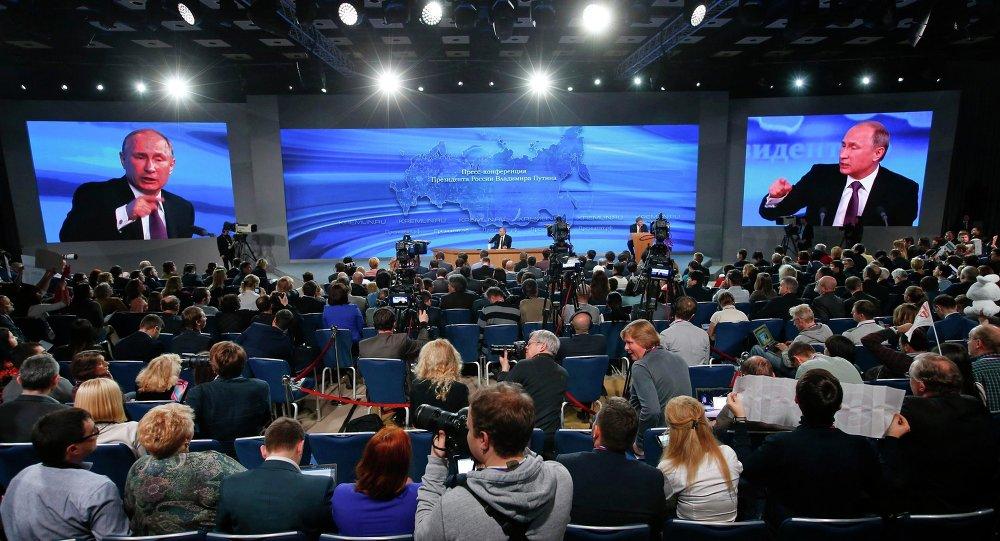 Le président russe Vladimir Poutine, lors d'une conférence de presse, décembre 2014