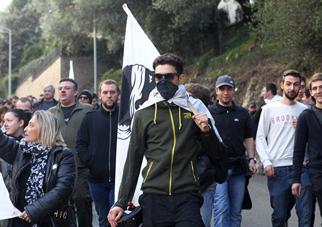 manifestation à Ajaccio