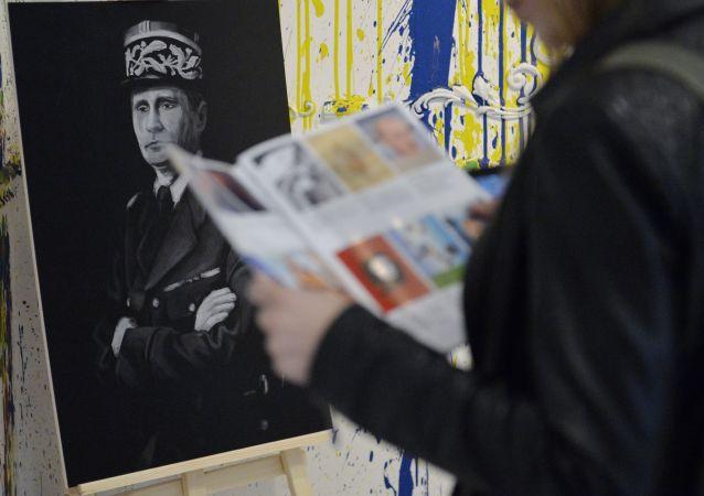 Un portrait de Vladimir Poutine représenté comme Charles de Gaulle