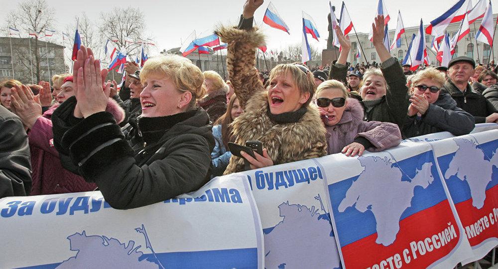 La célébration de l'adhésion de la Crimée à la Russie,  Simféropol. Archive photo