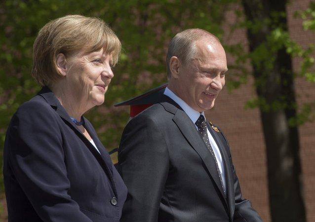 Angela Merkel et Vladimir Poutine. Archive photo